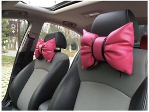 2 Hello Kitty Car Seat Bows Head Rest Pillows Hot Pink Read Description