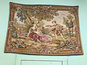 Antique French Romance Scene Large Wall Tapestry Decor Pre 1930s 60 X 42
