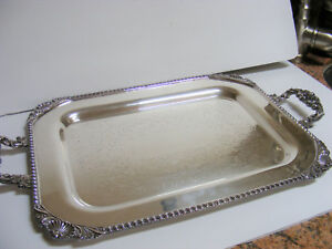 Ornate Silver Plate Butler Waiter Serving Tray Handles National N S Co Antique