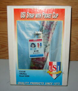 Usi Strap With Pocket Clip For Laminated Id Badges 100 Clear Straps 0290
