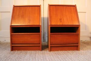 Pair Mid Century Danish Modern Drop Drawer Teak Nightstands End Tables