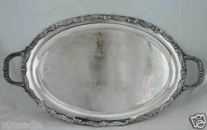 Antique Silver Plate Tray Oval Serving Butler S Ornate Etched Silverware