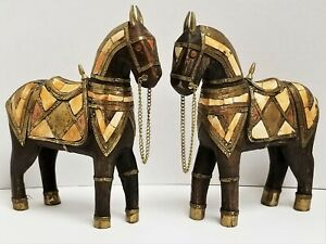 Vintage Pair Mid Century Modern Carved Wooden Brass Inlaid War Horses Figures