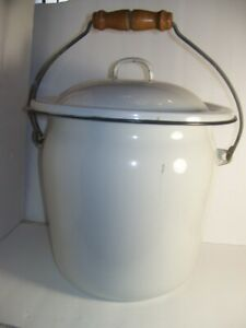 Enamel Porcelain White W Black Trim Chamber Pot Slop Bucket W Lid Wood Handle