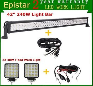 42inch 240w Led Light Bar Combo Offroad Ford 2x 48w Pods Cube 40 44 2xwiring Kit