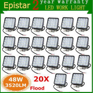 20x 48w 4inch Square Led Driving Lights Flood Bumper Reverse Fog Jeep Truck Boat