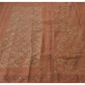 Sanskriti Sanskrit Vintage Brown Saree Pure Silk Woven Hand Beaded Craft Fabric