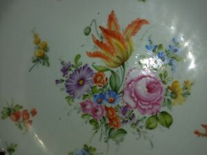 Antique 14 German Dresden Flowers Porcelain Footed Reticulated Center Bowl