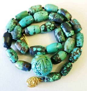 Rare Vintage Antique Chinese Carved Natural Turquoise Shou Necklace 19