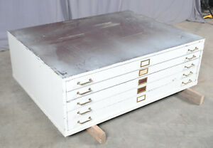 White Steel Map Chest Flat File Cabinet 5 Drawer Sleek Industrial Style 18 h