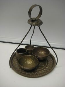 9 Pieces Vintage Persian Middle East Islamic Tinned Copper Dishes
