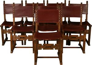 Set 8 Vintage Dining Chairs Spanish Mission 1930 Carved Oak Brown Leat