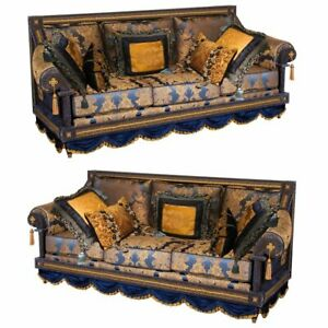 Opulent Pair Of French Royal Blue Gold Silk Damask Three Cushion Sofas Couches