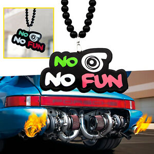 No Turbo No Fun Car Rearview Mirror Hanging Charm Pendant Ornament Necklace