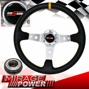 Universal Black Yellow Stitching Steering Wheel Snap Off Release Godsnow Button