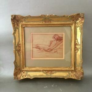 Vintage Miniature Drawing Nude Lady Portrait Painting W Gold Gilt Wood Frame