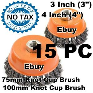 15pc 3 4 Knot Wire Cup Brush Twist For 4 1 2 Angle Grinder Hoteche