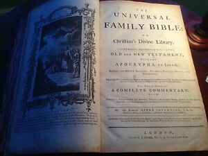 The Universal Family Bible By The Rev Henry Southwell Rector Of Asterby C1775