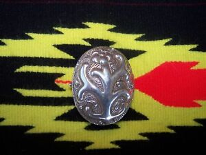 Old Large Ornate Sterling Silver Floral Pill Box Taxco Mexico Signed Fh