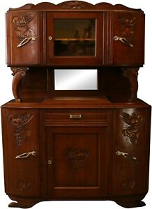 1920 Art Deco Buffet French Carved Oak Grapes Fruit Midcentury Modern
