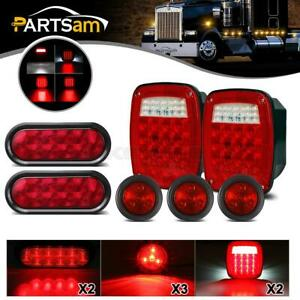 2x For Jeep Led Stop Turn Tail Lights 2x6 Oval Brake Tail Lights 3xside Marker