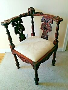 Victorian Style Carved Figurative Corner Chair Solid