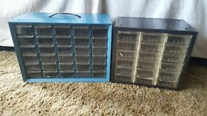 Vintage Lot Of 2 Metal 30 18 Drawer Nut bolt Small Parts Storage Cabinets