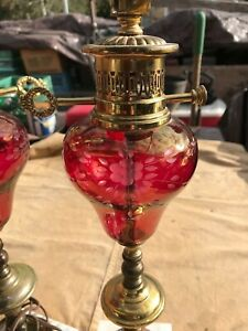 Ruby Red Glass Table Lamp Marble Base Brass Etched Glass 22 1930