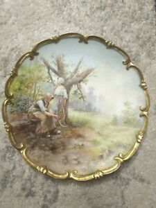 Ant Porcelain Hand Painted Charger Girl Field Workerd Countryside 11 5 Limoges
