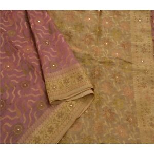 Sanskriti Vintage Indian Saree 100 Pure Silk Hand Beaded Fabric Premium Sari