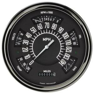 Classic Instruments Six Pack Gauge 1949 50 Ford Black