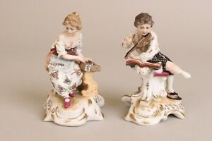 Lovely Pair Music Playing Antique Porcelain Figures Berlin Meissen Dresden 19thc