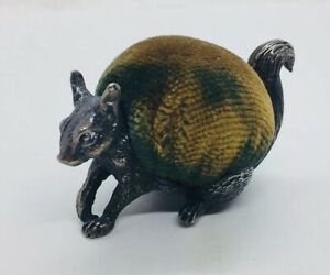 Mappin Webb Antique English Sterling Silver Figural Squirrel Pin Cushion