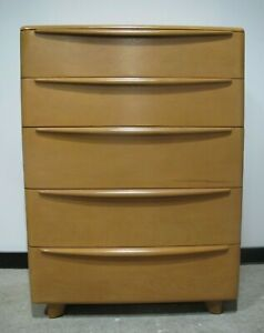 Heywood Wakefield Encore Champagne Tall Dresser Mid Century Chest Of Drawers