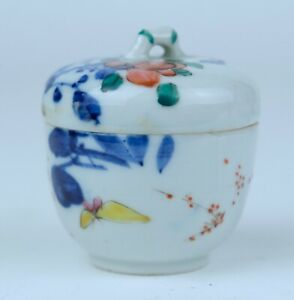 Antique Chinese Porcelain Famille Rose Box And Cover With Butterfly 19th C