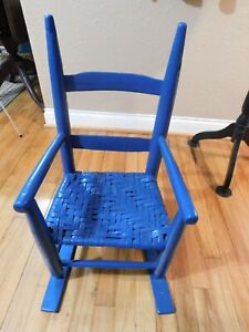 Late 1800 S Early 1900 S Primitive Child S Chair With Woven Seat Painted Blue