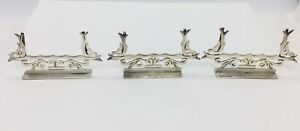Maricela Vintage Mexican Sterling Silver Set Of 3 Ornate Place Card Holders