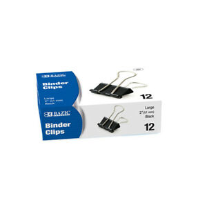 New 401785 Large 2 Inch 51mm Black Binder Clip 12 Box 12 pack Office