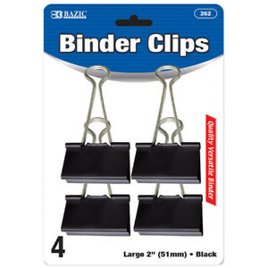 New 401780 Large 2 Inch 51mm Black Binder Clip 4 Pack 24 pack Office