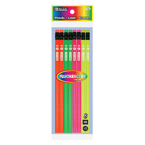 New 402331 Fluorescent Wood Pencil W Eraser 8 Pack 24 pack Pencil