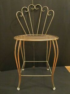 Vtg Mid Century Hollywood Regency Gold Metal Vanity Seat Stool