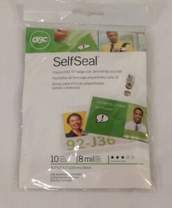 Gbc Self Seal Prepunched Id Badge Size Laminating Pouches 10 Pack Clear
