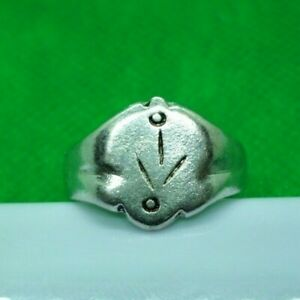 Genuine Medieval Decorated Silver Ring Complete 19 Mm Inner Diameter