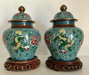 Pair Very Fine Old Chinese Cloisonne Ginger Jars Lids Foo Lions Dogs Stands