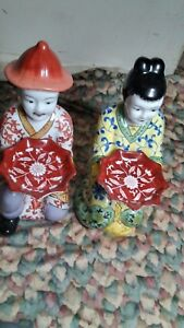 Pair Chinese Porcelain Statues Figurines With A Tray In The Hand For Decoration