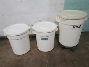 Lot Of 3 rubbermaid continental H d Commercial nsf Ingredient Poly Bins