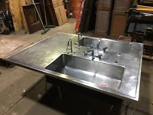 Big Stainless Steel Double Basin Island Top Science Lab Sink Industrial Kitchen