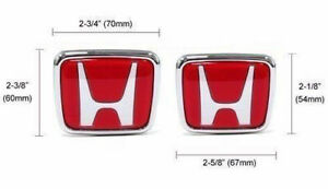 2x Red H Front Trunk Nameplate For Civic Del Sol Accord Prelude Integra