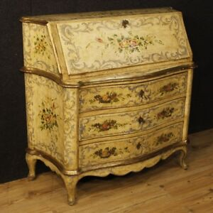 Fore Venetian Furniture Secretary Desk Secr Taire Lacquered Wood Painting