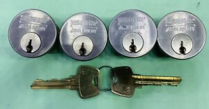 Sargent Mortise Lock Cylinder Lot Of 4 With 2 La Keys Excellent Condition